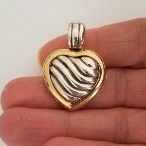 David Yurman Sterling & 18k Cable Heart Locket